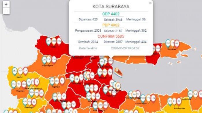 Update Virus Corona di Surabaya dan Jatim 30 Juni 2020, Positif Covid-19 Tembus 11.776, Sembuh 4012