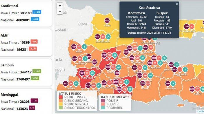 Update Virus Corona di Surabaya 31 Agustus 2021: Covid-19 Tambah 344 dan Mayoritas Kelurahan Level 1