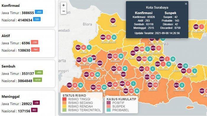 Update Virus Corona di Surabaya 8 September 2021: Covid-19 Naik 45 dan Daftar Daerah PPKM Level 2-4