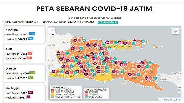 Update Virus Corona di Surabaya dan Jatim, Rabu 14 Oktober: Positif Mencapai 15.108, Sembuh 13.664