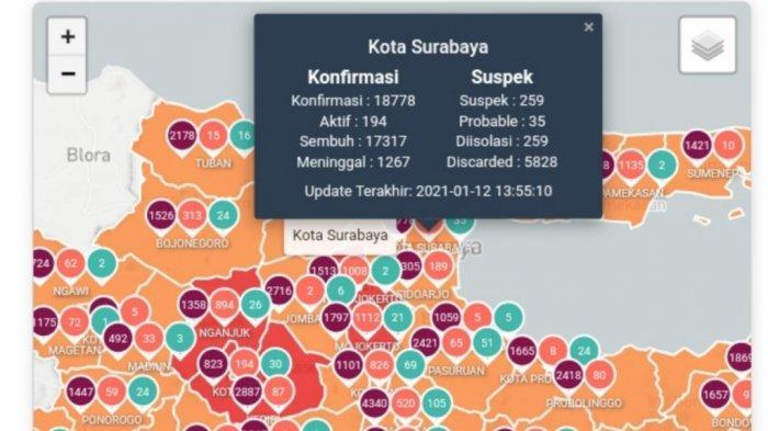 Update Virus Corona di Surabaya Hari Ini 13 Januari 2021 Tambah 66 Kasus, Aturan Lengkap PPKM/PSBB