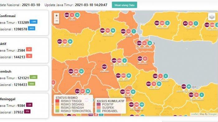 Update Virus Corona di Surabaya 11 Maret: 53 Sembuh, Hasil PPKM Mikro di Nganjuk 7128 RT Zona Hijau