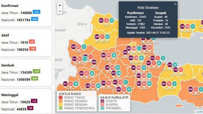 Update Virus Corona di Surabaya 28 April: Sembuh Covid-19 Naik 20, Titik Penyekatan di Jalur Pantura
