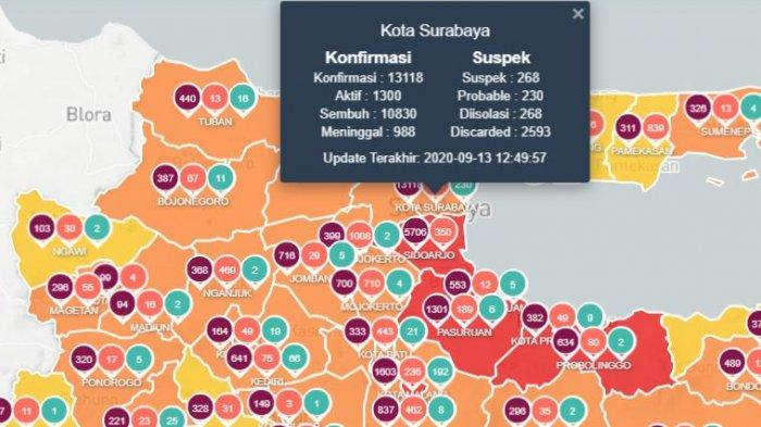 Peta update virus corona di Surabaya dan Jatim 14 September 2020