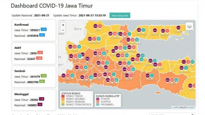 Update Virus Corona Surabaya 21 September 2021: Tambah 26, 19 Daerah di Jatim Masuk PPKM Level 1