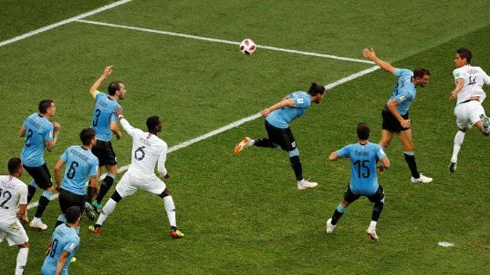 Hasil Piala Dunia 2018: Babak I Uruguay Vs Prancis 0-1, Raphael Varane Bawa Prancis Unggul Sementara