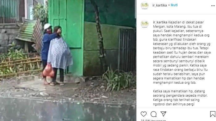 Video nenek dipukuli kepalanya oleh wanita muda di dekat pasar Mergan, Kota Malang.