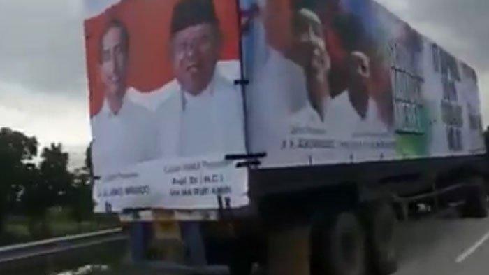 Video Truk Kontainer Bergambar Jokowi-Maruf Amin Viral di WhatsApp (WA) dan Twitter, Politisi Heboh