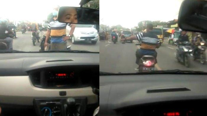 Screen capture video viral yang terjadi di Jalan Raya Sukomulyo, Tenger, Roomo, Kecamatan Manyar, Kabupaten Gresik, Jumat (19/2/2021) sore.