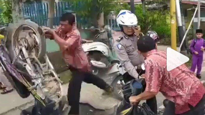 VIDEO Viral Pria Ngamuk Banting Motor Ogah Ditilang Polisi, Fakta Terungkap Berawal dari Apes