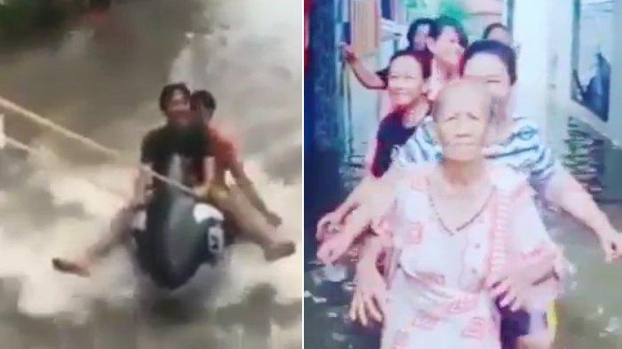 VIRAL Video Lucu Warga Jakarta Asik Main Banjir, Emak-emak Heboh Syuting Tik Tok sampai Main Ski Air