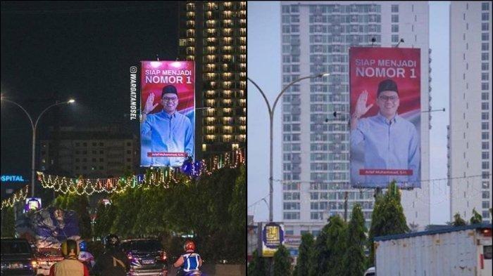 Wajah Youtuber Arief Muhammad terpampang di baliho yang berada di kawasan Tangerang Selatan
