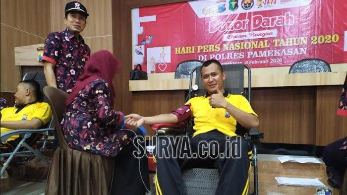 Peringati Hari Pers Nasional 2020, Polres Pamekasan Gandeng FWP Gelar Donor Darah