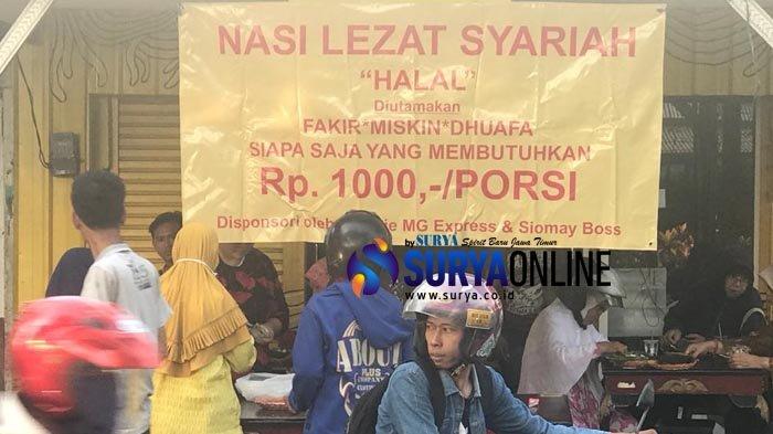 Niat Sedekah, Warung Nasi Lezat Syariah Surabaya Jual Makanan Sehat Rp 1.000 bagi Warga Tak Mampu