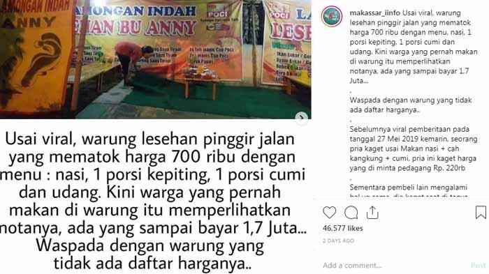 Warung Seafood Bu Anny Dikabarkan juga Pernah Tarik Rp 1,7 Juta, Makan 2 Porsi Lele Rp 100.000