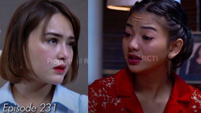 Adegan sinetron Ikatan Cinta Elsa (kanan) dan Aldebaran menggendong Reyna (kiri)