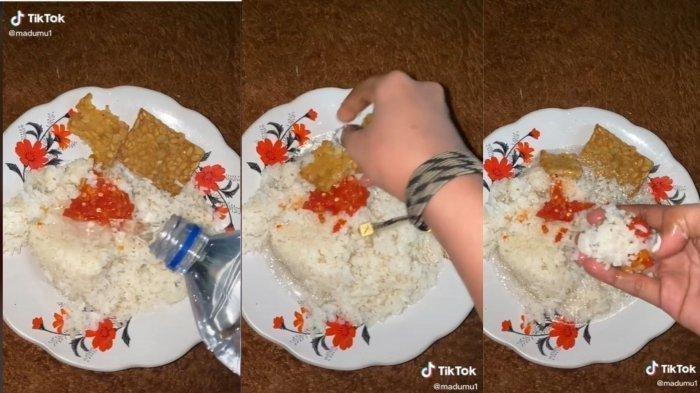 Aksi Ananda Sukma Wulandari makan nasi dicampur air mineral