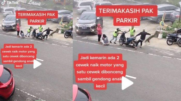 Video Aksi Heroik Tukang Parkir Tabrakkan Diri ke Motor Rem Blong Dikendarai 2 Wanita dan 1 Bayi