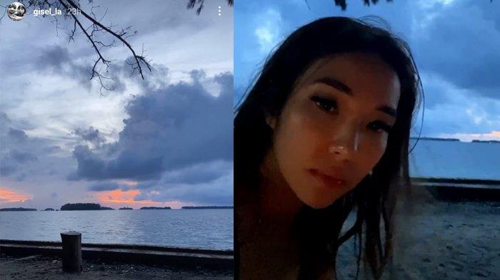 Gisella Anastasia asyik berlibur ke pantai bersama Wijaya Saputra dan teman-temannya
