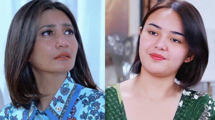 Amanda Manopo (kanan) dan Natasha Dewanti (kiri) pemeran sinetron Ikatan Cinta