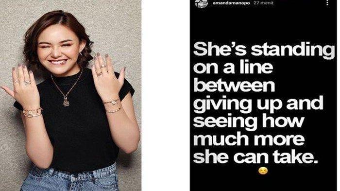 Amanda Manopo kembali mencurahkan isi hatinya,Belum diketahui siapa sosok yang dimaksud Amanda Manopo dalam postingan tersebut. (IG Amanda Manopo)