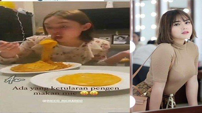 Amanda Manopo Makan Dengan Wajah Narsis. (IG Aladin Story)