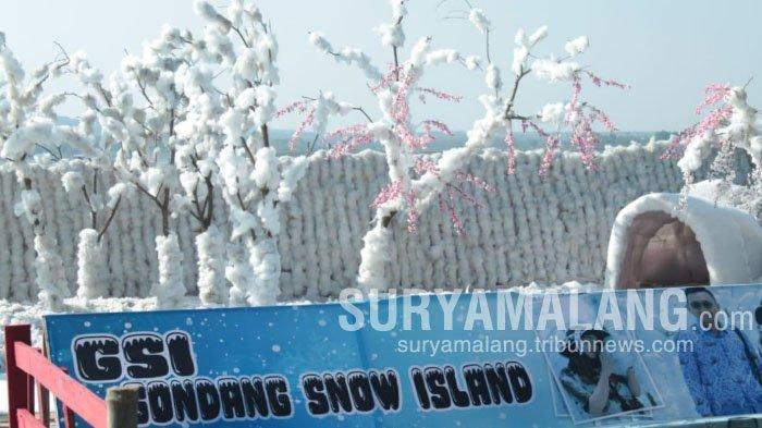 Menikmati Sensasi Suasana Bersalju di Gondang Snow Island Lamongan, Cukup Bayar Rp 15.000