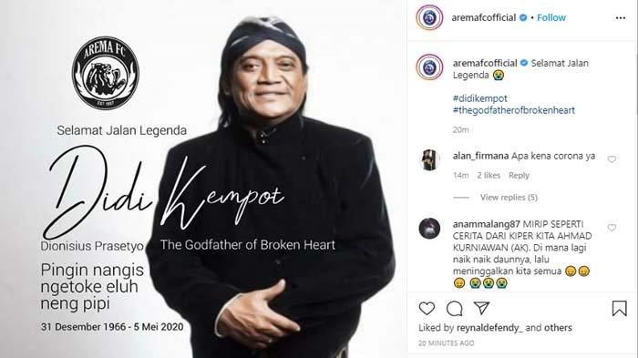 Sosok Didi Kempot di Mata Manajemen Arema FC, 'Karyanya akan Tetap Abadi'