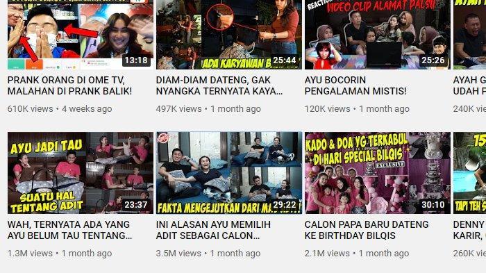 Konten Ayu Ting Ting bersama Adit Jayusman masih ada di YouTube Qiss You TV