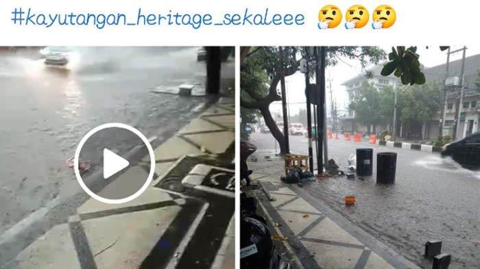 Banjir yang melanda kawasan Kayutangan Heritage di Kota Malang viral di media sosial.