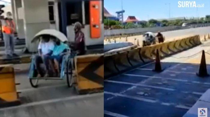 Akhir Kisah Becak Masuk Jalan Tol Dupak yang Videonya Jadi Sorotan, Sudah Melintasi 2 Km Jalur Tol