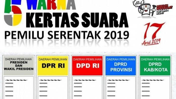 Panduan ke TPS Pemilu 2019, Ini Beda Lima Warna Surat Suara Pemilu 2019, Jangan Sampai Salah Coblos