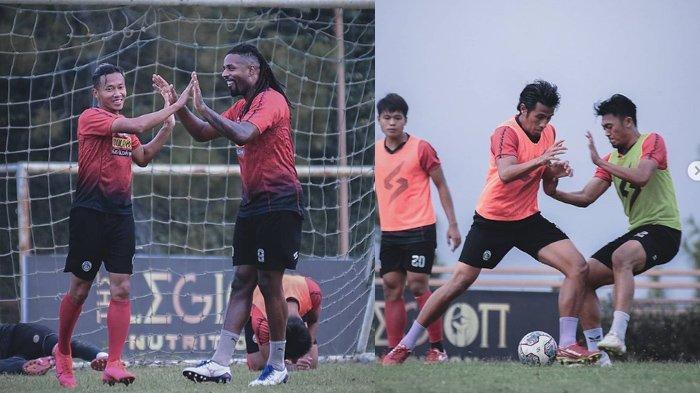 Potret pemain Arema FC saat latihan