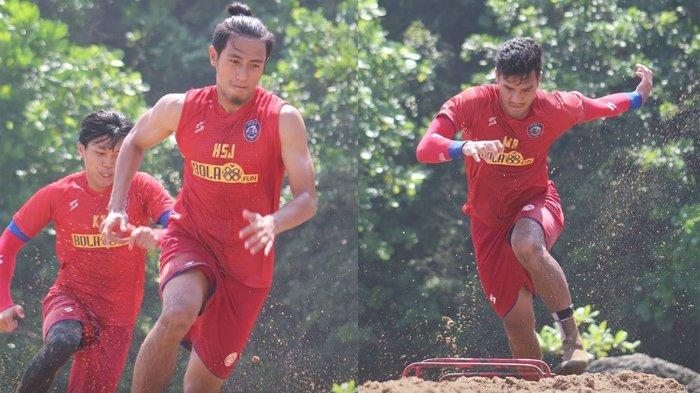 Pemain Arema FC saat jalani pelatihan di pantai Malang Selatan