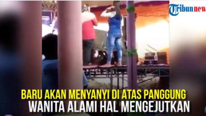 VIDEO : Biduan Alami Musibah Mengerikan di Atas Panggung, Penonton Teriak Histeris