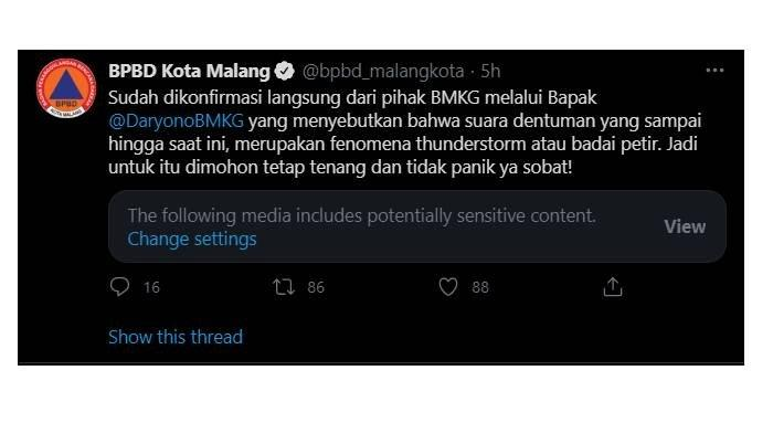BPBD Kota Malang konfirmasi penyebab dentuman misterius di Malang