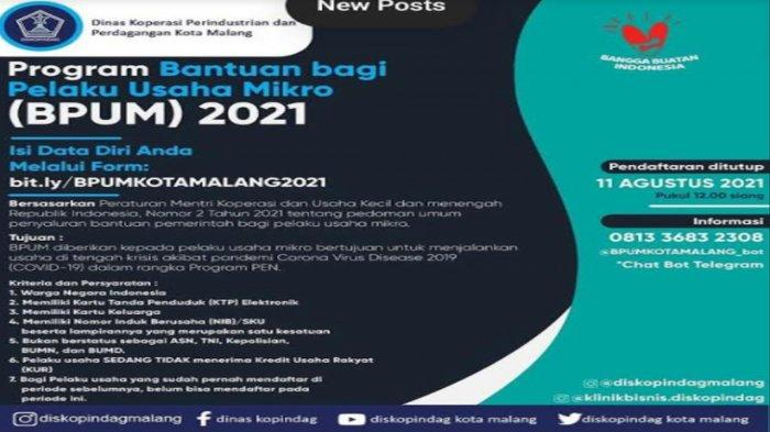 Menko UMKM akan Salurkan Bansos BPUM ke Pelaku UMKM Kota Malang, Ini Syarat dan Pendaftarannya