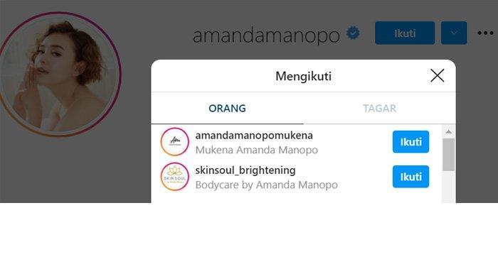 Bukti Amanda Manopo hanya follow dua akun di Instagram