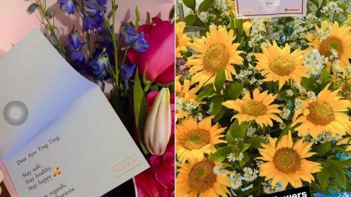 Bunga kiriman Denise Chariesta untuk Ayu Ting Ting