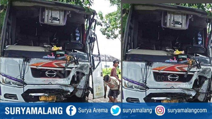 Tabrakan Maut Adu Moncong Bus Mira Vs Truk di Mejayan Madiun, Sopir Bus Luka Berat, 1 Orang Tewas
