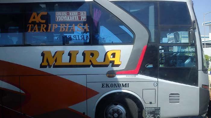 Diduga Ugal-ugalan, Bus Mira Terbalik Di Jalan Raya Saradan - Madiun