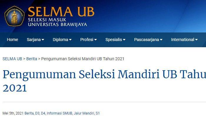 Cara Daftar Jalur Mandiri Universitas Brawijaya Jalur UTBK 2021, Gelombang 1 Ditutup 15 Juni 2021