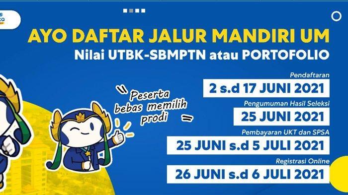 Cara Daftar Seleksi Mandiri Universitas Negeri Malang (UM) Jalur UTBK 2021, Ditutup 17 Juni 2021