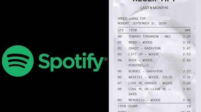 Cara Membuat Receiptify, Playliyst Lagu Spotify dengan Tampilan Nota Belanja, Viral di Media Sosial