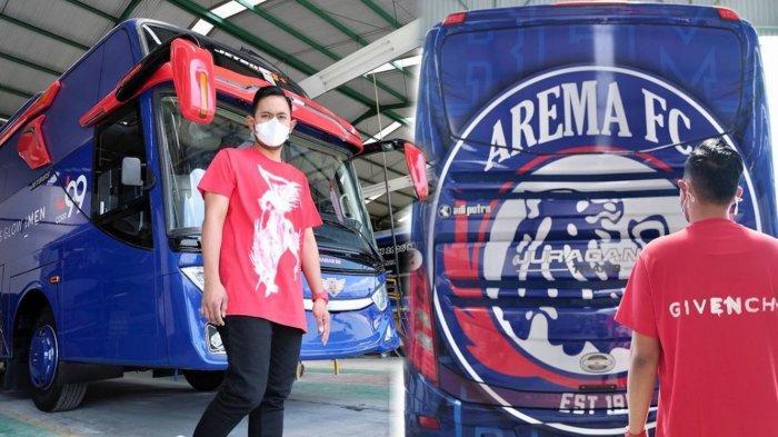 Crazy Rich Malang, Gilang Widya Pramana menunjukkan wujud bus Arema FC yang akan diberikannya pada manajemen Arema