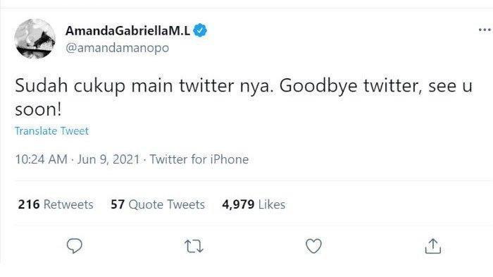 Cuitan Amanda Manopo pamit dari Twitter