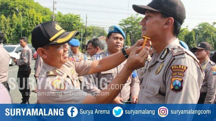 Tak Rapi, Rambut Dan Jenggot Anggota Polres Pasuruan Dirapikan Dalam Upacara