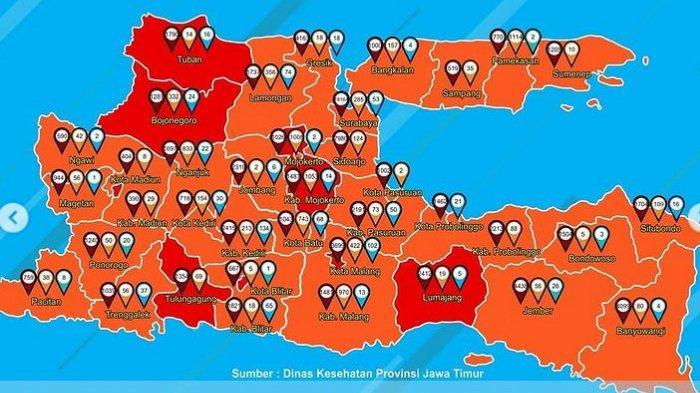 Peta Persebaran Zona Merah Jatim Hari Ini Senin 4 Januari 2021