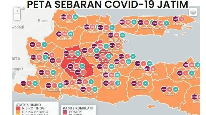 Daftar Zona Merah Jatim Senin 18 Januari 2021, Hanya Tersisa 5 Daerah Termasuk Nganjuk dan Kediri