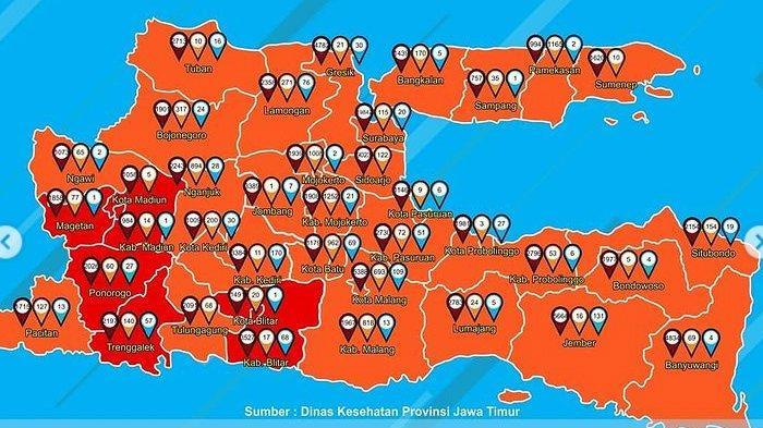 Daftar Zona Merah Jawa Timur Minggu 31 Januari 2021, Ada 7 Daerah Termasuk Ponorogo, Magetan, Blitar